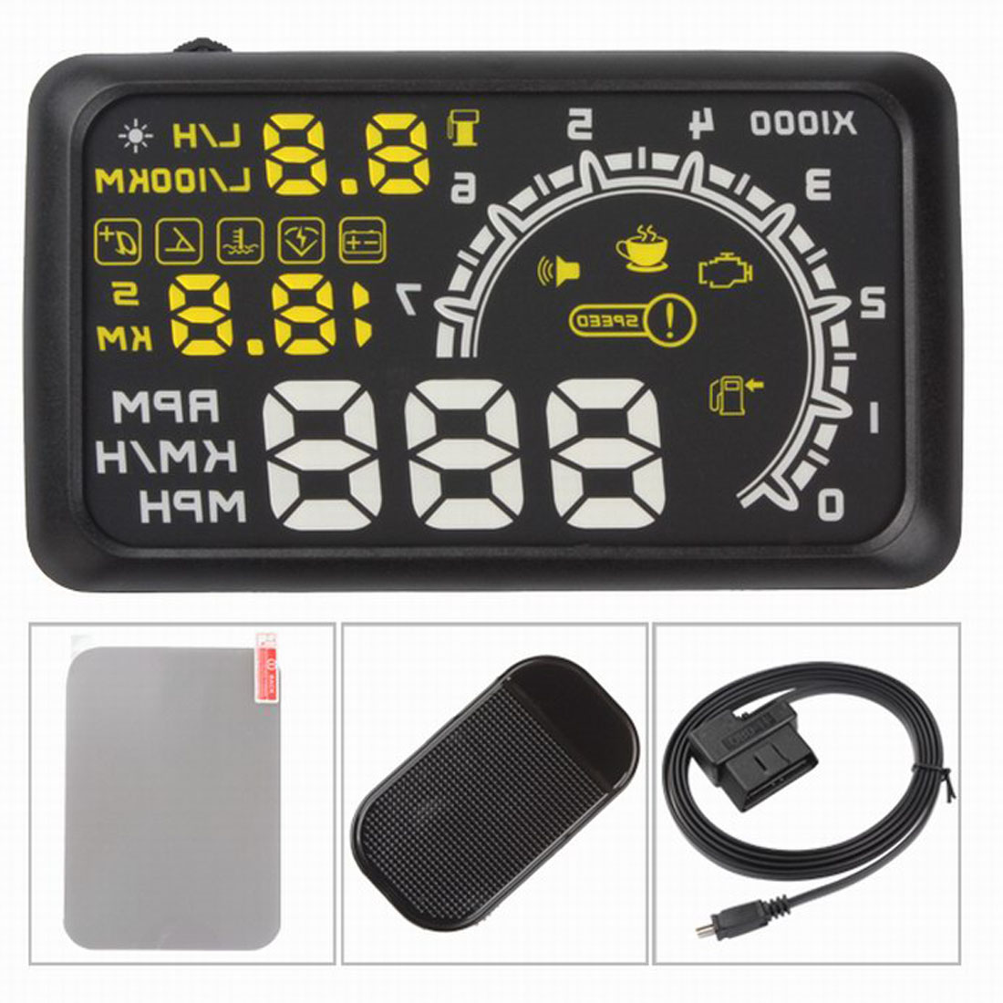 cheapest On-board Computer Car Speed Projector Speedometer Head-up Display Hud Obd2 Windshield Projector Engine Failure Fuel Consumption