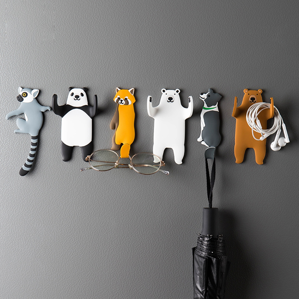 Lovely Cartoon Cat Panda Puppy Animals Removable Washable Self Adhesive Non-stick Keys Hook Holder Racks Fridge Stickers