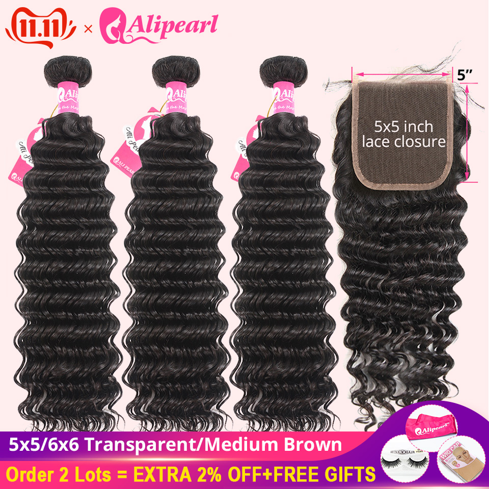 Deep Wave Bundles With 5x5 Closure Brazilian Human Hair 3 Bundles With Transparent Closure 6x6 Remy Hair Extension AliPearl Hair