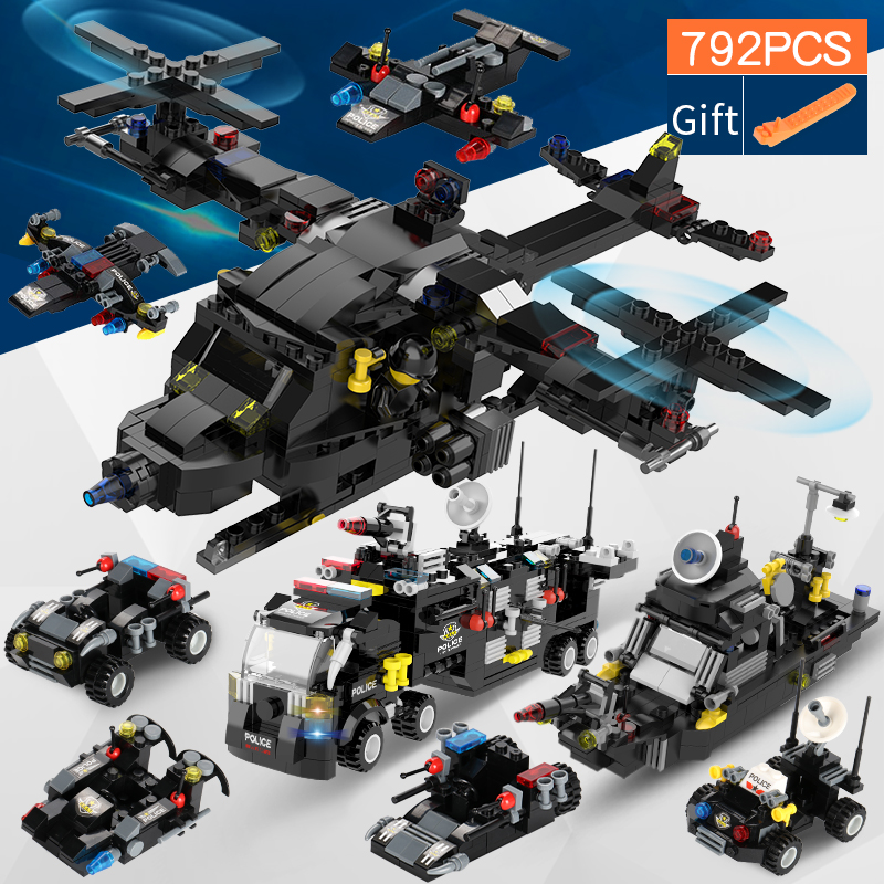 792pcs 3 In 1 Transformation City SWAT Truck Warship Helicopter Building Blocks Compatible With LegoED Technic Toys For Children