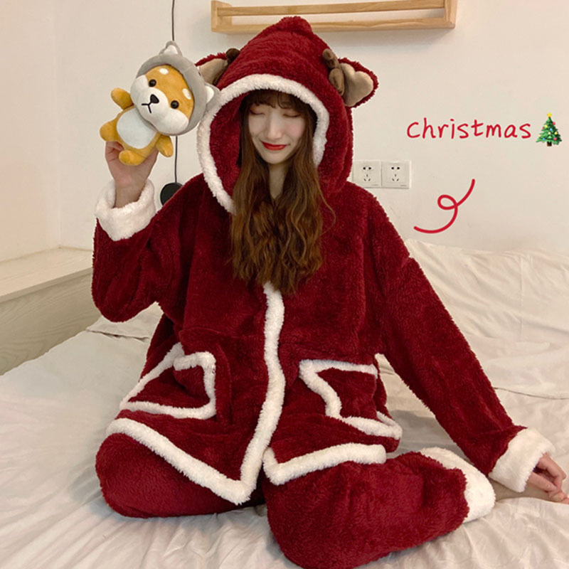 2019 New Style Christmas Pajamas Autumn And Winter Cute Korean-style Furry Comfortable Outer Wear Casual Homewear Set Women's