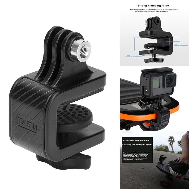 Skateboard Motorcycle Bike Handlebar Rotated Clamp Mount Bracket Holder Stand For GoPro Hero Action Camera Accessories