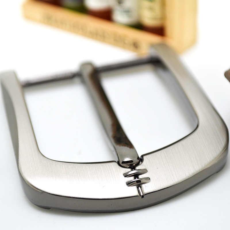 Hebilla de cinturón de Metal de 35/40mm, hebillas para cinturones de Metal cepillado para hombres, hebilla de cinturón de un solo Pin, correa de mezclilla artesanal de media hebilla