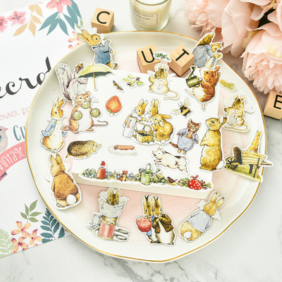 100pcs Cute Peter Rabbits Cardstock Die Cut Stickers For Scrapbooking Happy Planner/Card Making/Journaling Project Craft