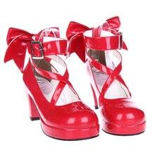 2019新魔法少女まどか ☆ マギカコスプレ靴和風アニメロリータ靴ハイヒール女性のためのw/ちょう結び