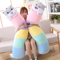 70/90/110cm Long Rainbow Hamster Plush Pillows Staffed Down Cotton Animal Mouse Toys for Kids Soft Bed Decor Cute Brinquedos