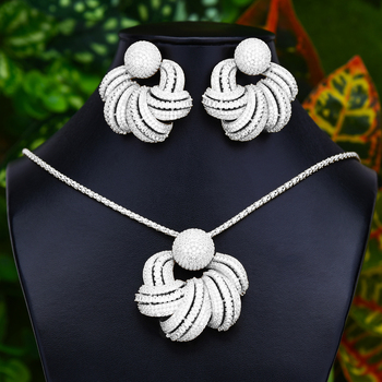 Trendy Flower Earrings Pendant Set  3