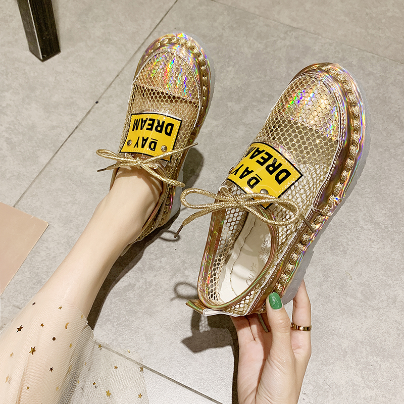 2020 Fashion Women Shoes Mesh Lace Up Loafers Ladies Summer Comfortable Sneakers Designer Casual Lightweight Crystal Shoes Women