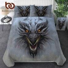 BeddingOutlet דרקון ראש מצעים סט אפור אבן כיסויי מיטה 3D טקסטיל בית שד משחק Teen בני מיטת סט מלכת Dropship
