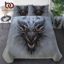 Beddingoutlet dragão cabeça conjunto de cama cinza colchas pedra 3d impressão têxteis para casa jogo demônio meninos adolescentes conjunto cama rainha dropship