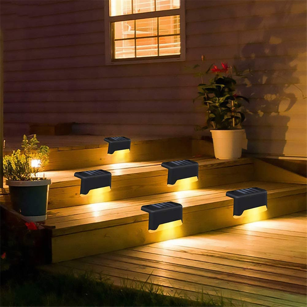4 8 12Pcs Outdoor Solar Deck Lights LED Solar Path Stair Pathway Fence Light Waterproof Garden Yard Fence Wall Landscape Lamp