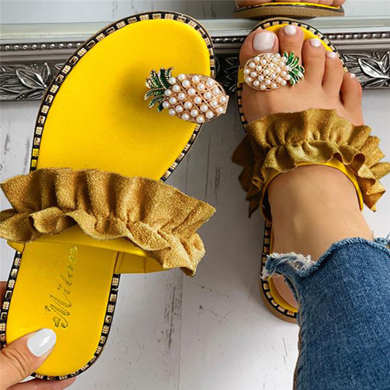 Women Slipper Pineapple Pearl Flat Toe Bohemian Casual Beach Sandals Ladies Shoes Platform 2020 Designer Black Slides Wholesale