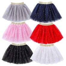 Moda çocuklar örgü Miniskirts kız prenses yıldız Glitter dans bale Tutu marka pullu parti kız Faldas etek elastik