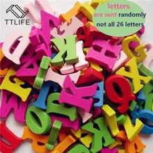 100 pcs Diy מלאכות חידות ילדים צעצועים חינוכיים עץ אלפבית צעצוע לגרד אותיות צבעוני דקורטיבי אותיות מספרים