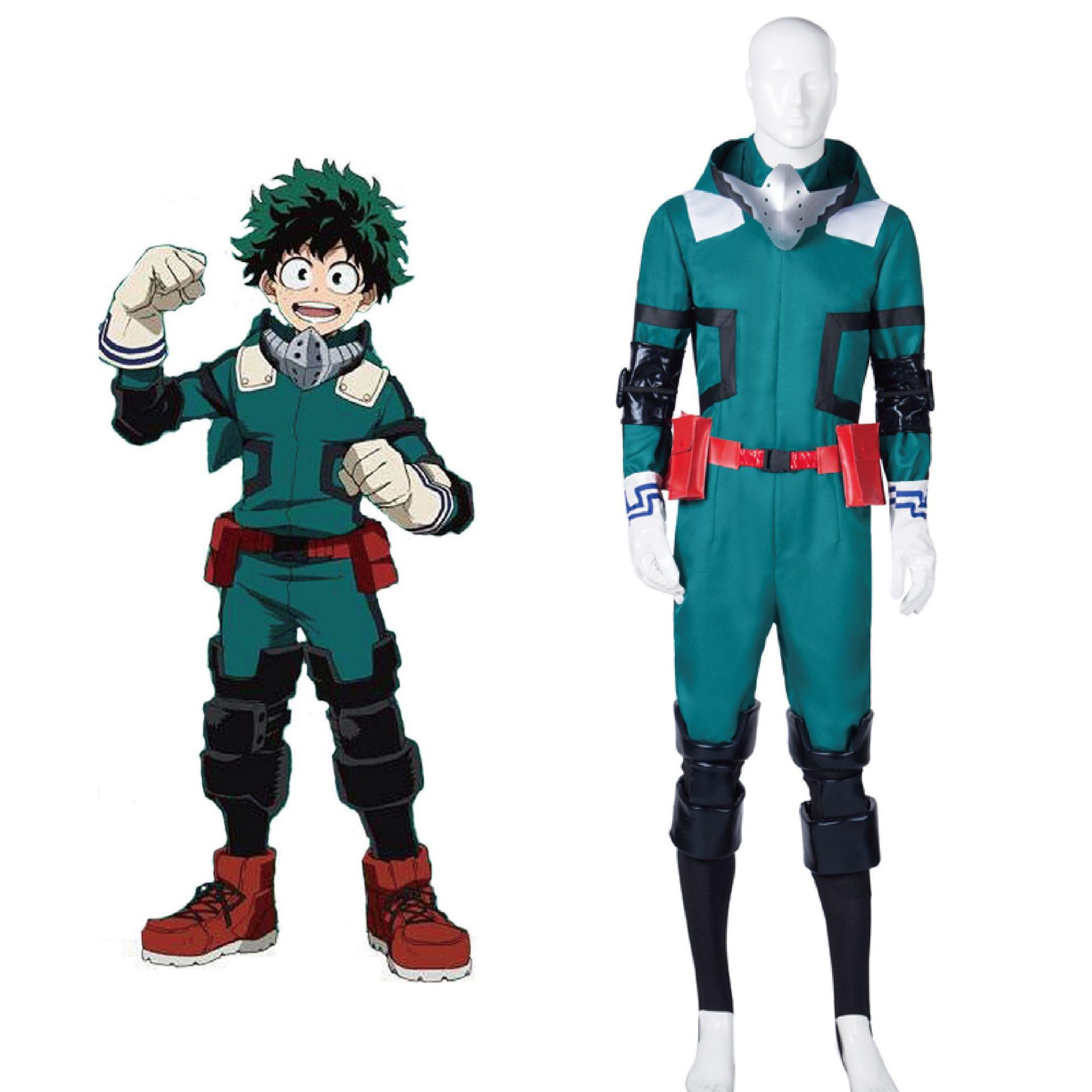 Anime my hero academia boku no hero academia 미도리 야 이즈 쿠 데쿠 코스프레 의상 배틀 슈트 남자 점프 슈트 카니발 풀 세트