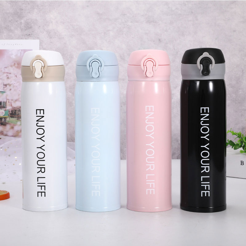 Thermocup Bouncing Cover Bottle Vacuum flask Thermal Mug Travel Thermos Cup Stainless Steel Coffee Cup Kids Sports Water Bottle