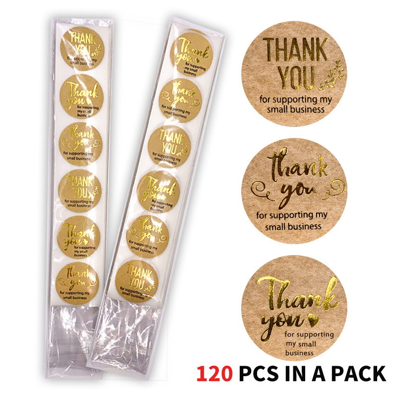 120 PCS/Pack Gold Foil Round Thank You For Supporting My Small Business Kraft Stickers With Scrapbooking Stationery Stickers
