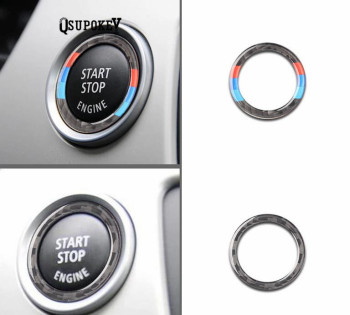 32.5mm/Carbon Fiber Car Engine Start Stop Button Cover M stripe logo Key Ignition Stickers for BMW E90 E92 E93 3 series 320 325i image