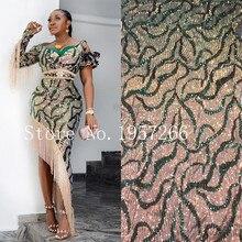 Sequins afrika dantel kumaş 2020 yüksek kaliteli dantel streç, fransız Net dantel kumaş nijeryalı düğün parti elbise için TMJ3487