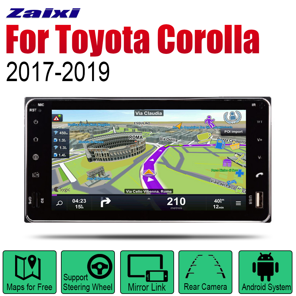 Android 2 Din Auto Radio For <font><b>Toyota</b></font> <font><b>Corolla</b></font> 2017 <font><b>2018</b></font> 2019 Car <font><b>Multimedia</b></font> Player GPS Navigation System Radio Stereo image
