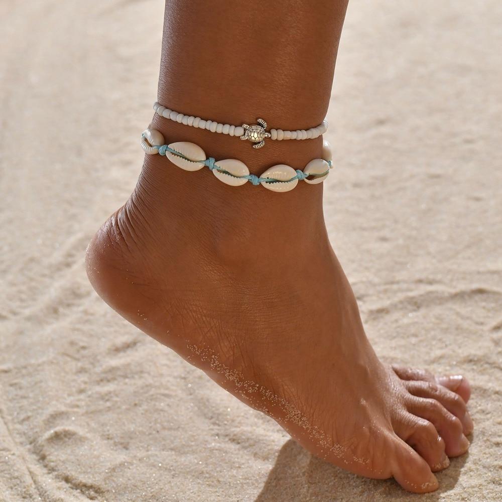 Boho Shell Turtle Handmade Anklets for Women Blue Rope Chain on Leg Natural Shell Ankle Bracelet Foot Summer Beach Jewelry