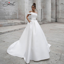 OLLYMURS 2020 Luxury Wedding Dress Satin Sleeveless Cardigan Backless Bridal Wedding Dress Support Tailor-made(China)