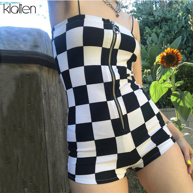 KLALIEN 2020 New Rompers Women Casual Playsuit Fashion Zipper Black White Lattice Jumpsuit Ladies Off Shoulder Bodycon Jumpsuits