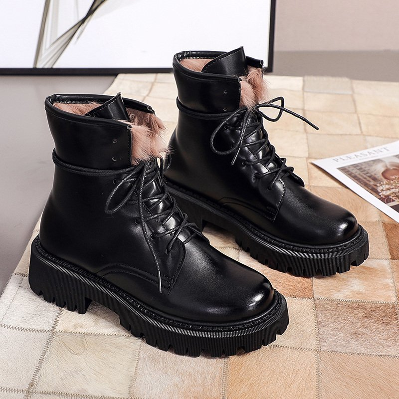 Women Black Ankle Boots 2020 Autumn Winter Fashion Platform Gothic Shoes Thick Sole Motorcycle Boots Women Warm Fur Combat Boots