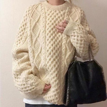 Plian Knitted Sweater Women Korean Basic Warm Solid Pullovers Sweet Retro Ribbed Jumpers Oversized Knit Wear Minimalist Beige