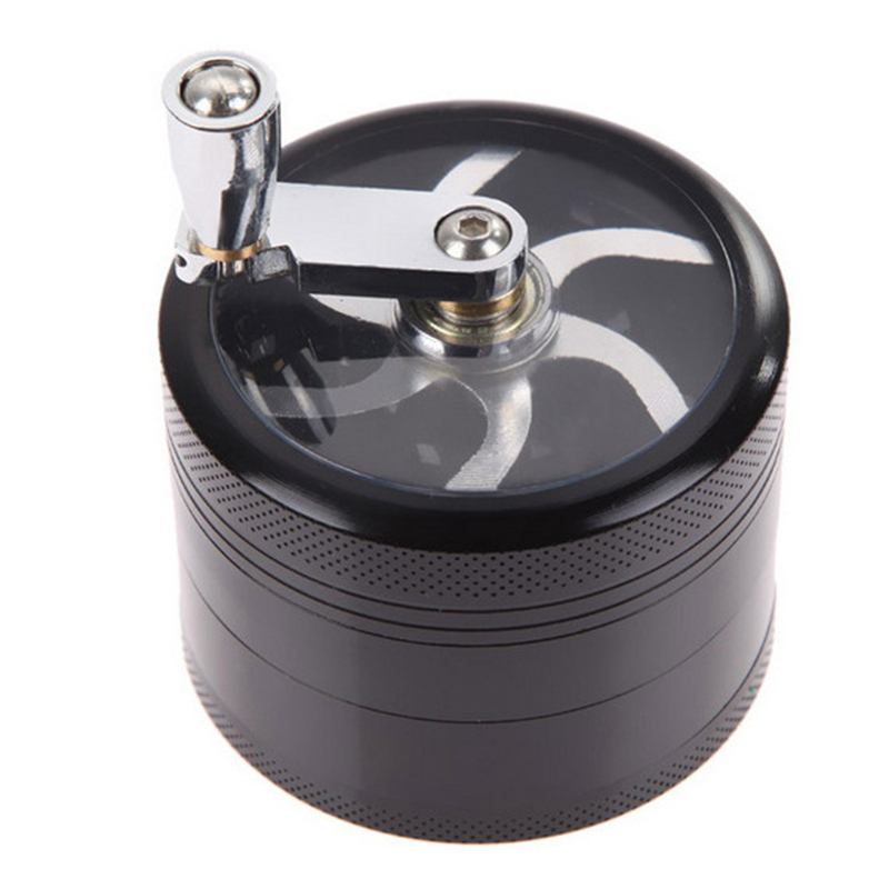 4 Layers Tobacco Spice Grinder Herb Weed Grinder Smoke Crusher Metal Manual Crank Mill Pollinator Kitchen Gadgets