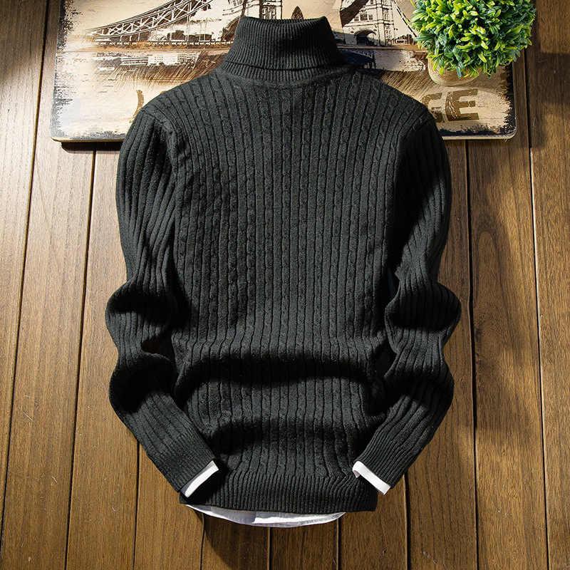 Suéter de hombre azul de moda 2019 Otoño Invierno grueso Delgado Fit hombres tendencia suéter de punto hombres suéter suéteres hombres