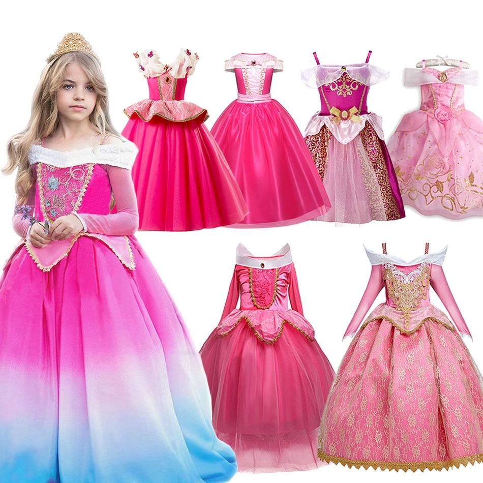 Mädchen Phantasie Deluxe Dornröschen Halloween Prinzessin Kostüm Party Aurora Kleid Up Kinder Red Layered Christmas Pageant Ballkleid