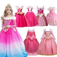 Vestido de lujo para niña, traje de princesa para Noche de Brujas, Aurora, en capas rojas