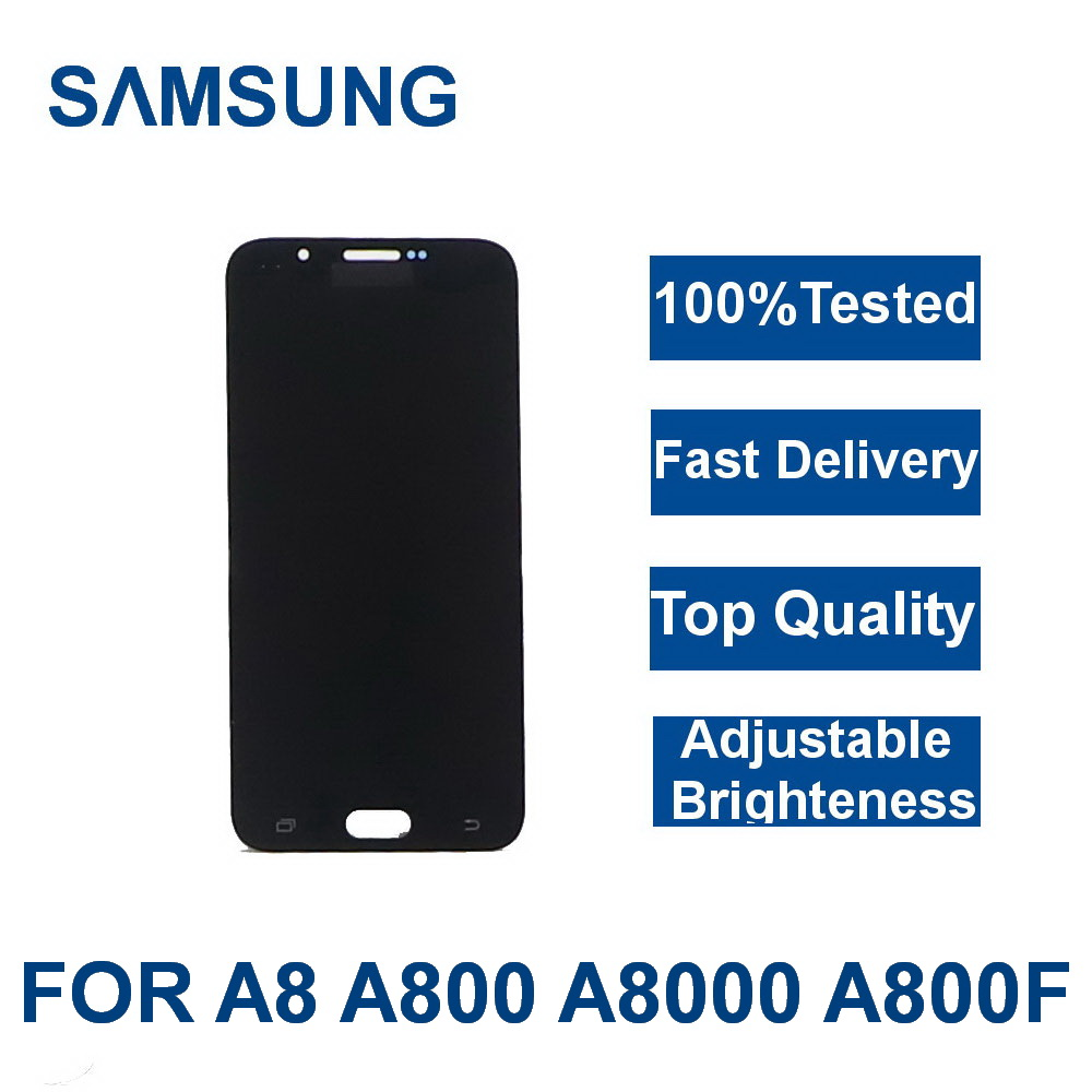 For <font><b>Samsung</b></font> Galaxy A8 A800 <font><b>A8000</b></font> A800F Phone LCD Display Touch Digitizer Screen Assembly 100% Tested With brightness adjustment image