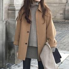 Outwear Wool-Coat Blends Long-Sleeve Winter Fashion Women Female Autumn Single-Breasted