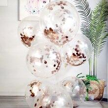 12 дюймов прозрачный шар из розового золота конфетти-блестки воздушных шаров из латекса, чехлы на стулья банкетные на день рождения, вечерние, свадьбы, праздника, Декор