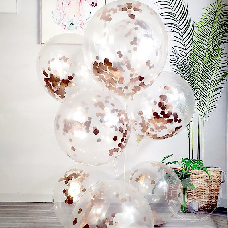 12 Polegada transparente balão rosa ouro confetes lantejoulas látex balões banquete decoração festa de aniversário decoração do festival de casamento