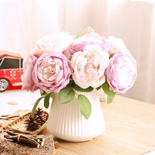 5 Heads Artificial Flower Rose Real Touch Roses for DIY Bouquets Wedding Party Home Decor