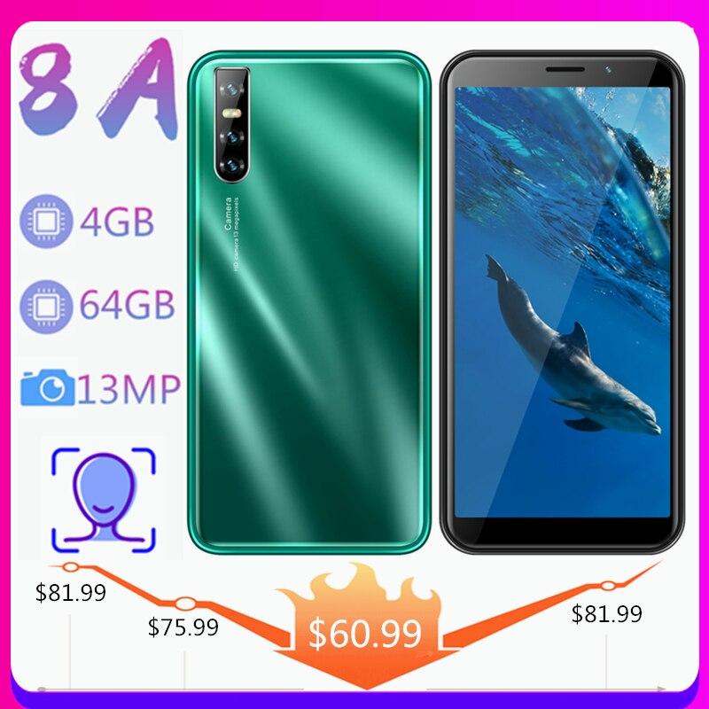 Смартфон 8A, 6,0 дюйма, Android, 4 + 64 ГБ, 13 МП, распознавание лица