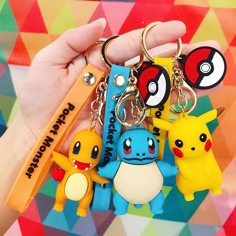 New Creative Cartoon Pokemon Keychain Personality Cute Pikachu Doll Key Chain Bag Pendant Small Gift