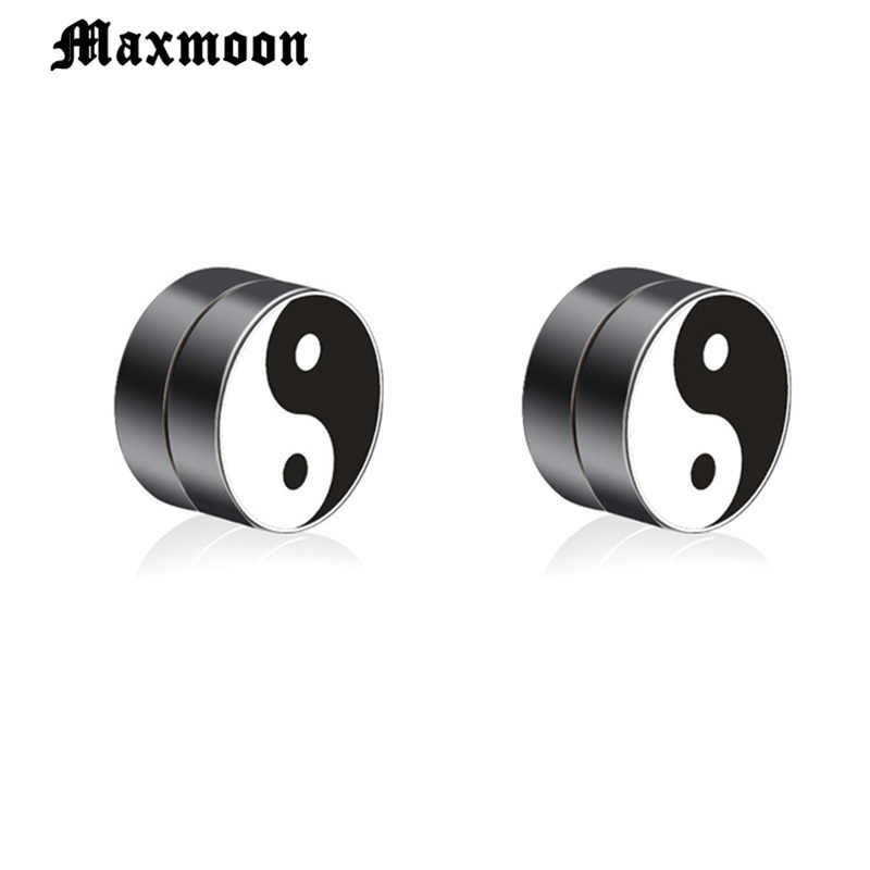 Maxmoon 1 Pair Man Women Magnetic Earrings No Piercing Simple Taichi Round Earring