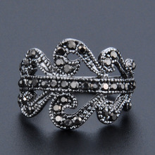 Retro Vintage Antique Silver Color Black Crystal Cocktail Ring Jewelry Rings For Women Girls US Size 8 9 10 Wholesale stars pattern double layer titanium steel couple rings black silver golden us size 9 7