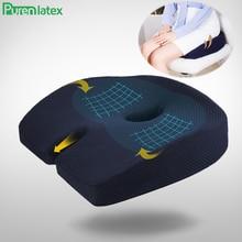 Purenlatex 자동차 좌석 쿠션 메모리 폼 미골 정형 의자 쿠션 릴리프 통증 좌골 신경통 사무실 홈 인체 공학적 보호