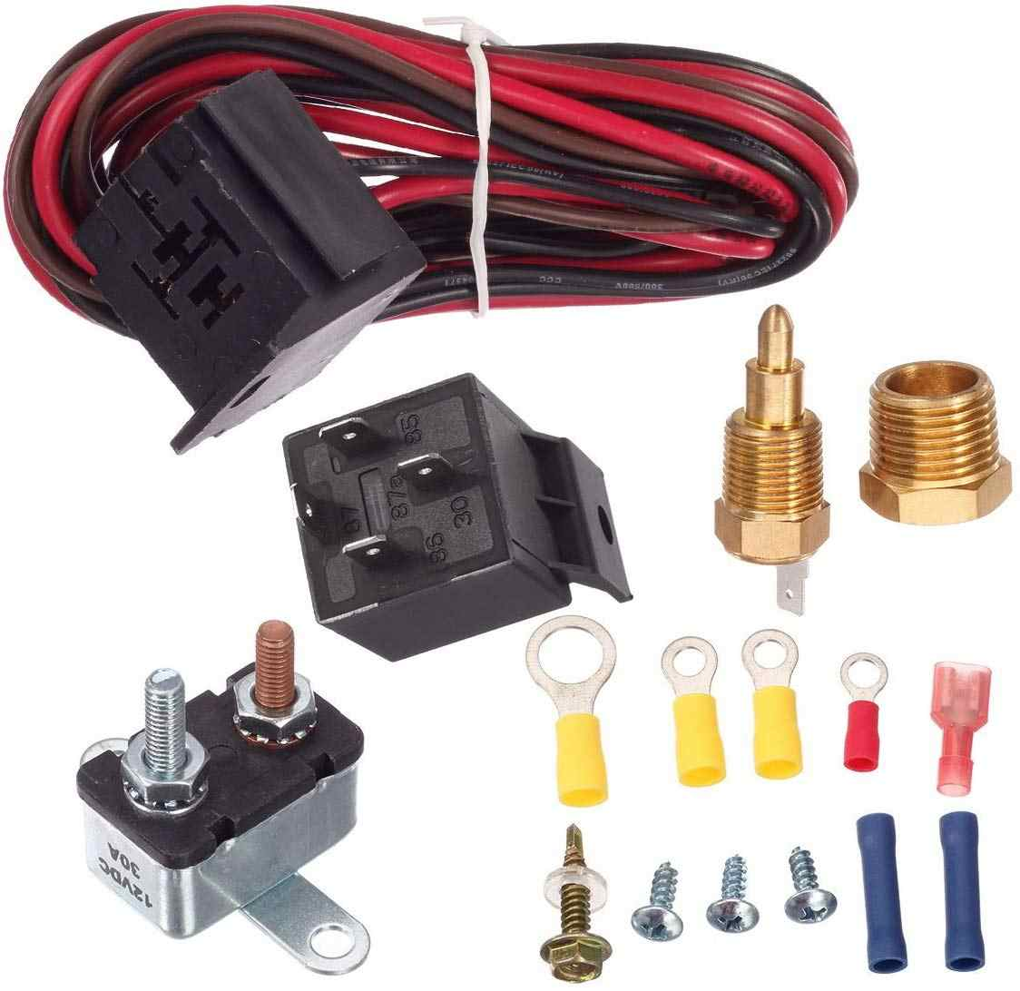 175-185 Degree Electric Cooling Fan Thermostat Kit Temperature Relay Wiring Switch Accessories