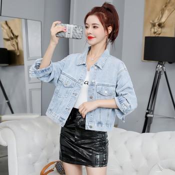 Denim Jacket 2020 Women Autumn Ripped Pockets Loose  Jean Coat Streetwear Style Jeans Coats And Jackets Female Spring