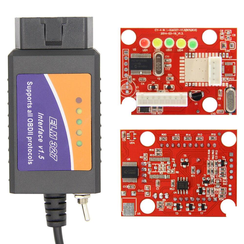 ELM 327 V1 5 PIC18F25K80 For FORScan ELM327 USB OBD2 Scanner CH430 HS CAN MS CAN ELM 327 V1.5 PIC18F25K80 For FORScan ELM327 USB OBD2 Scanner CH430 HS CAN/MS CAN For Ford OBD 2 OBD2 Car Diagnostic Auto Tool
