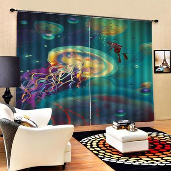 Curtain Decoration 3D Abstract depiction of the underwater world Curtains For Bedroom Living room Polyester Room Curtain