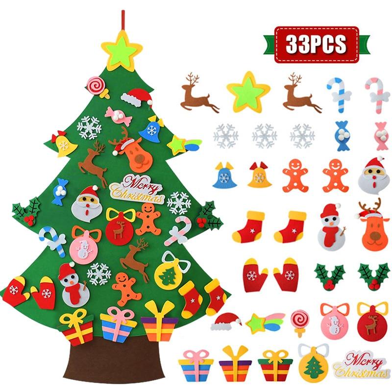 Kids DIY Felt Christmas Tree Christmas Decoration for Home Navidad 2021 New Year Gifts Christmas Ornaments Santa Claus Xmas Tree 5