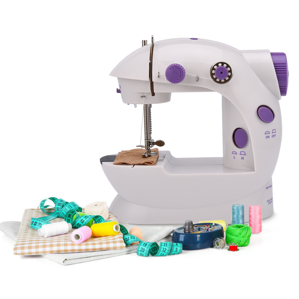 Mini Sewing Machine Electric Adjustable 2-Speed Double Thread Handheld Sewing Embroidery Machine for Beginner with Foot Pedal image