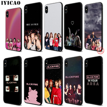 IYICAO Blackpink Lisa Rose K Pop Soft Black Silicone Case for iPhone 11 Pro Xr Xs Max X or 10 8 7 6 6S Plus 5 5S SE